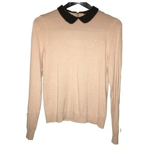 Ann Taylor Peter Pan Collar Peach Pink Sweater